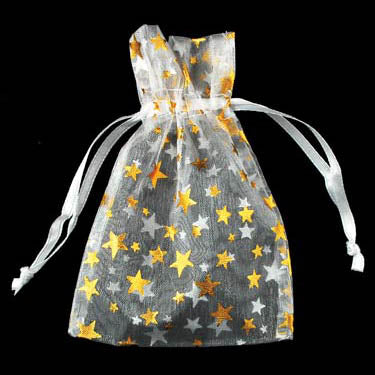 White organza pouch with Gold Stars 2.75