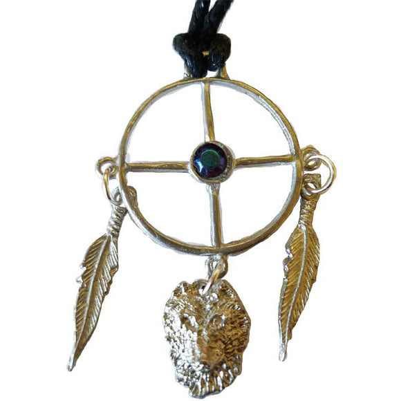 Wolf Medicine Wheel with Gemstones Amulet Pewter Pendant (has cord) :: Mental XS Online