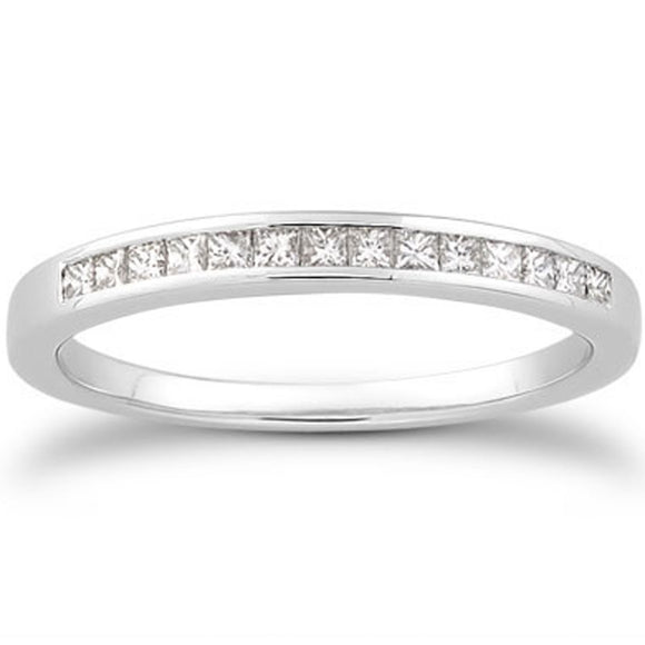 14K White Gold Channel Set Princess 0.17 ct Diamond Wedding Ring