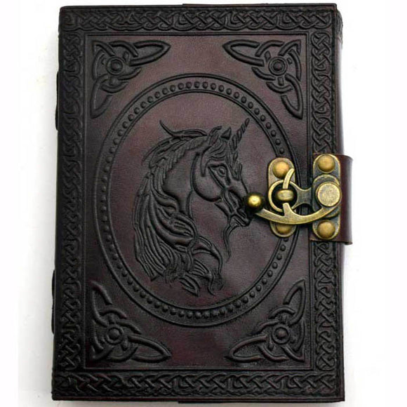 Celtic Knot Unicorn Embossed Leather Unlined Journal with Latch (7