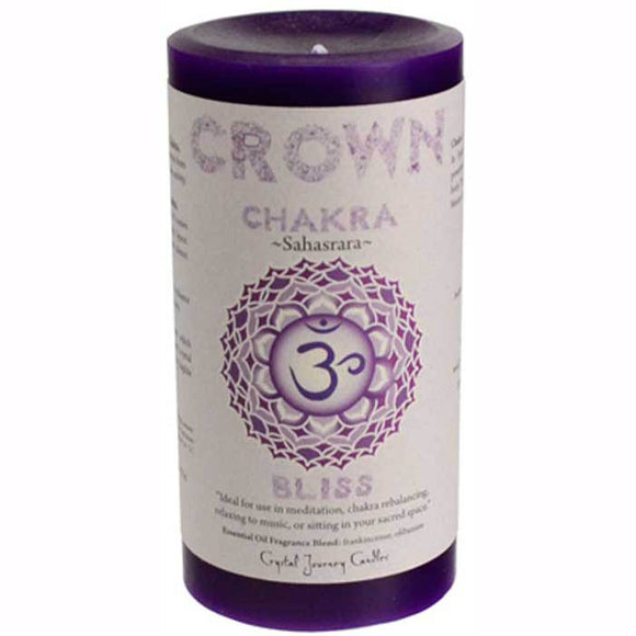 Crystal Journey Candles Dark Purple Bliss Sahasrara Crown Chakra Pillar Candle 6