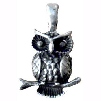Owl Amulet Pewter Pendant (has cord) :: Mental XS Online