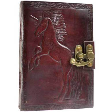Unicorn Embossed Leather Unlined Journal with Latch (7
