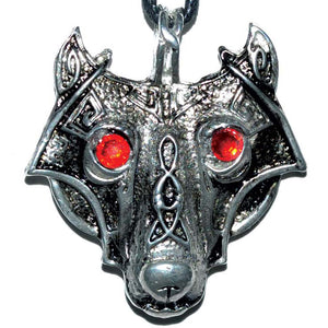 Viking Wolf Head amulet with cord :: Mental XS Online