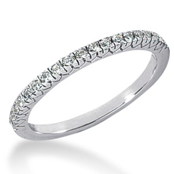 14K White Gold 0.18 ct Diamond Engraved Fishtail V Pave Wedding Ring