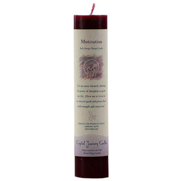 Crystal Journey Candles Burgundy Motivation Reiki-Charged Pillar Candle 7