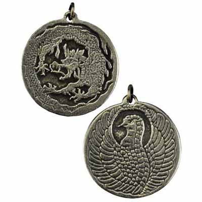 Dragon and Phoenix Amulet Pewter Pendant (has cord) :: Mental XS Online