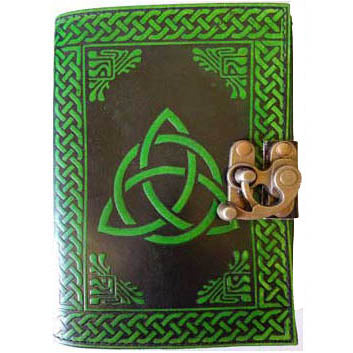 Black & Green Triquetra with Celtic Knotwork Embossed Leather Unlined Journal with Latch (7