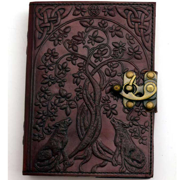 Tree of Life & Wolves with Celtic Knots Embossed Leather Unlined Journal with Latch (7