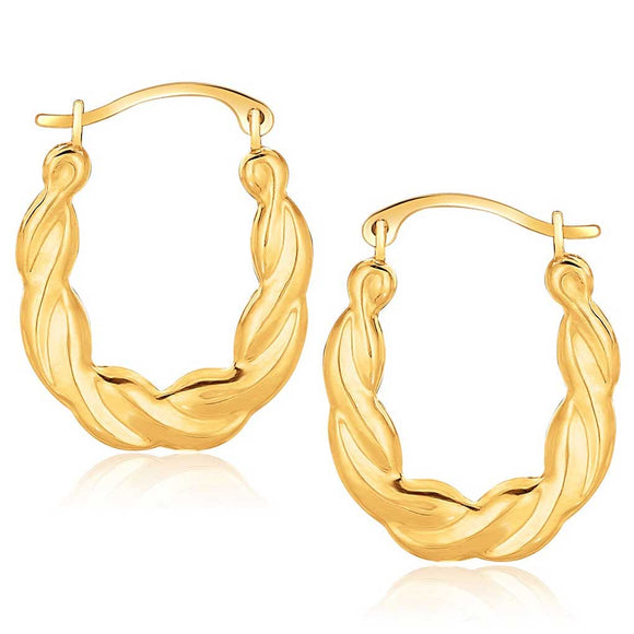 10K Gold Oval Twist Hoop Earrings