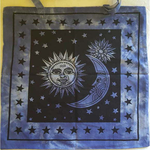 Blue & Black Sun & Moon Tie-dyed Cotton Tote Bag 18