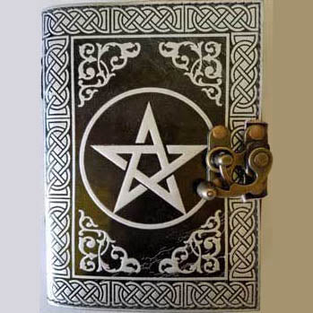 Black & Silver Pentacle with Celtic Knotwork Embossed Leather Unlined Journal with Latch (7