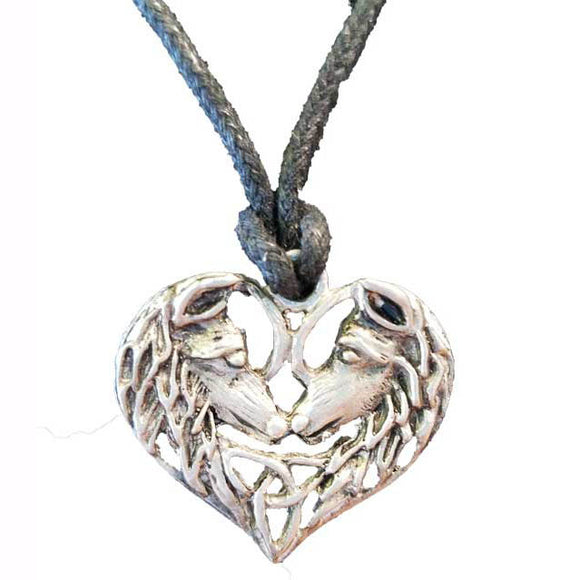 Silver Wolf Lovers Heart Amulet Pewter Pendant (has cord) :: Mental XS Online