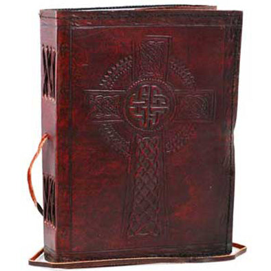 Celtic Cross Embossed Leather Unlined Journal with Cord (8