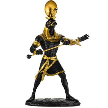 Ra Egyptian Sun God Black & Gold Statue 10