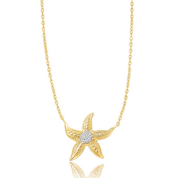 14K Two-Tone Gold Sea Life Starfish Necklace