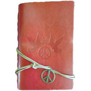 "Red Dove and Peace Sign Embossed Wrap-around Journal with Cord & Peace Charm (6½"" x 4⅜"") :: Mental XS Online"