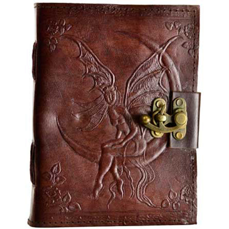 Faerie Moon Embossed Leather Unlined Journal with Latch (8