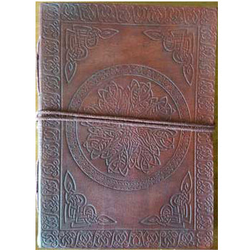 Mandala with Celtic Knotwork Embossed Leather Unlined Journal with Cord :: Mental XS Online