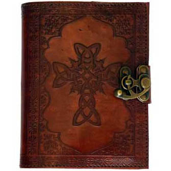 Celtic Cross Embossed Leather Unlined Journal with Latch (7