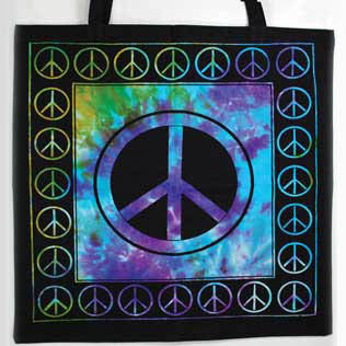 Peace Sign Tie-dyed Cotton Tote Bag 18