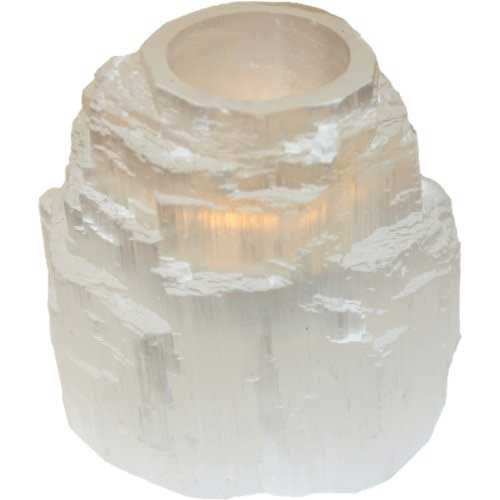 White Selenite Crystal Tower Tealight Candle Holder