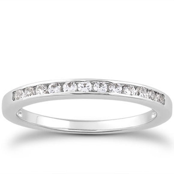 14K White Gold 1/3 Channel Set 0.24 ct Diamond Wedding Ring