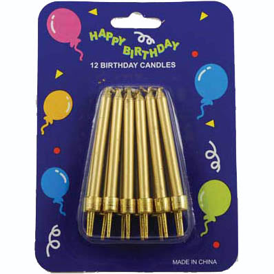 Gold Birthday Candles - 12 Pack