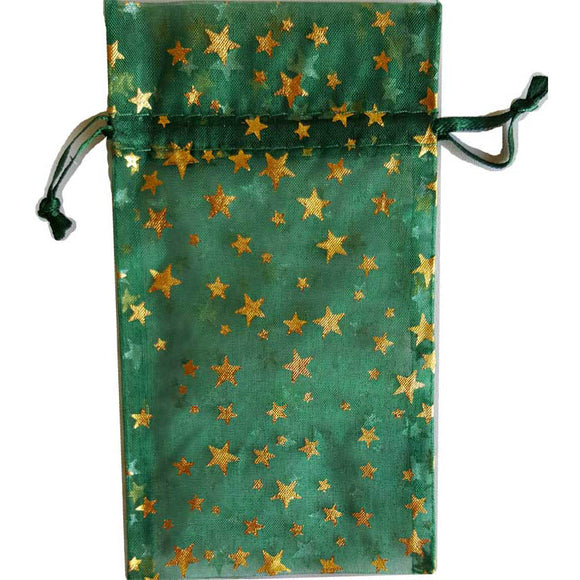 Green organza pouch with Gold Stars 3