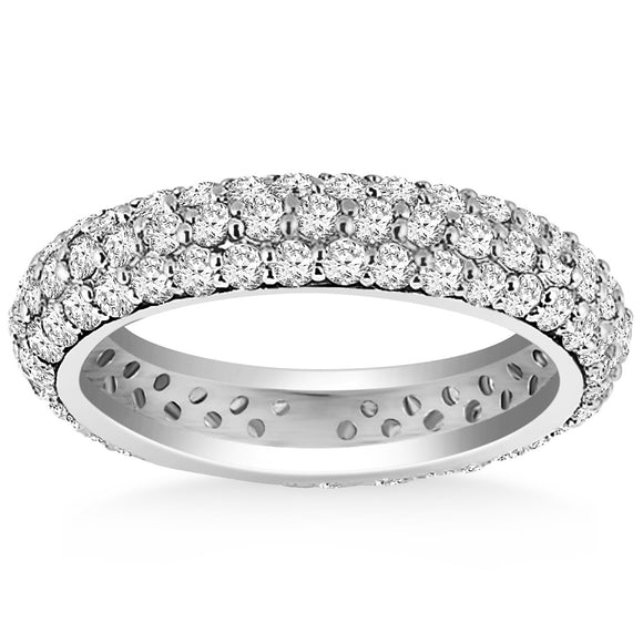 14K White Gold Cupola Round 0.93 ct Diamond Eternity Ring