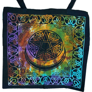 "Triple Moon Pentacle with Celtic Knotwork Tie-dyed Cotton Tote Bag 18"" x 18"""