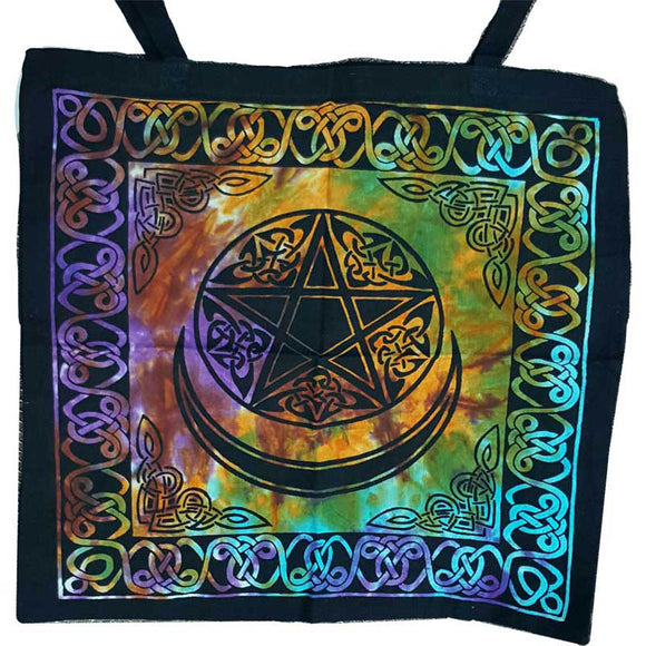 Triple Moon Pentacle with Celtic Knotwork Tie-dyed Cotton Tote Bag 18