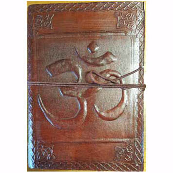 Om with Celtic Knotwork Embossed Leather Unlined Journal with Cord (7