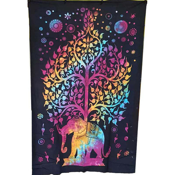 Tree of Life with Elephant Tie-dyed Tapestry 54