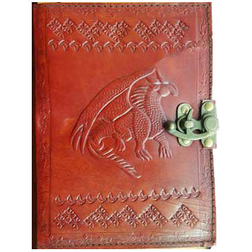 Dragon Embossed Leather Unlined Journal with Latch :: Mental XS Online