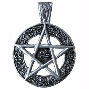 Pentacle with Celtic Scrolls Amulet Pewter Pendant (has cord) :: Mental XS Online
