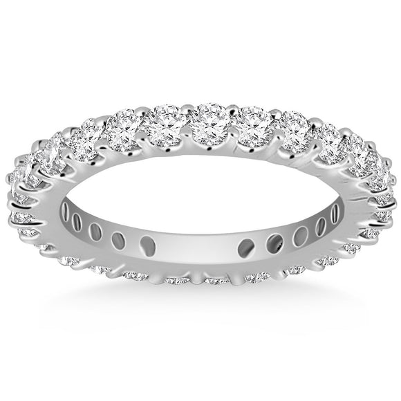 14K White Gold Common Prong Round 1.54 ct Diamond Eternity Ring