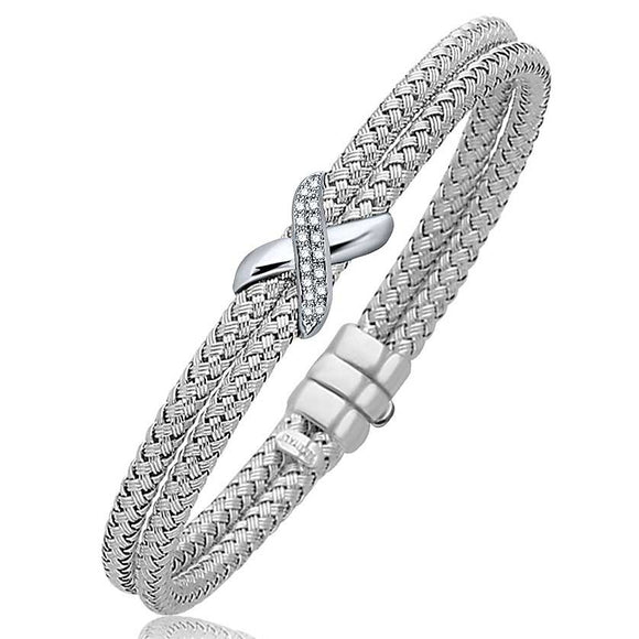 Diamond Accented X Station Weave Bangle in 14K White Gold (.17 ct t.w.) - Fine Jewelry from Hamunaptra NY :: Exclusively at Mental XS Online