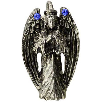 Praying Angel Amulet with Gemstones Pewter Pendant (has cord) :: Mental XS Online