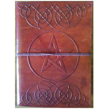Pentacle with Celtic Knotwork Embossed Leather Unlined Journal with Cord :: Mental XS Online
