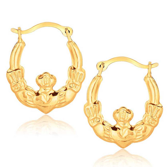 10K Gold Claddagh Hoop Earrings