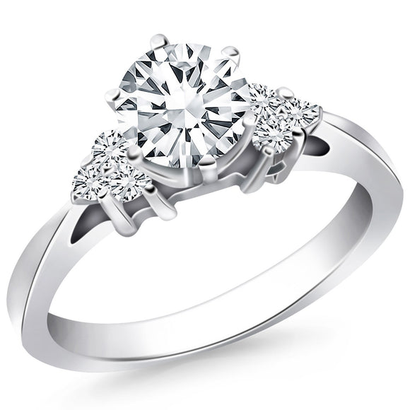 14K White Gold 0.5 ct Diamond Side Cluster Cathedral Engagement Ring