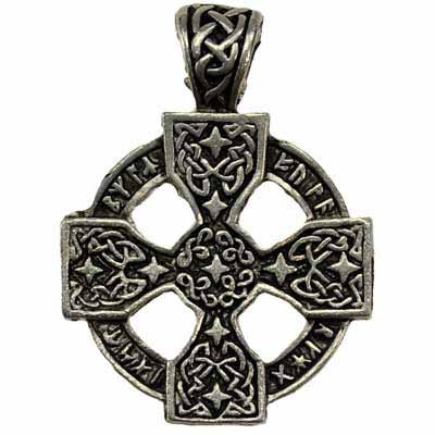Rune Engraved Celtic Cross Amulet Pewter Pendant (has cord) :: Mental XS Online