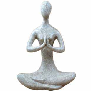 Meditative Yoga Goddess Sandstone Resin Statue 8⅞