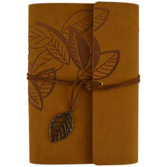 Brown Leaf Embossed Wrap-around Unlined Journal with Cord & Leaf Charm (7¼