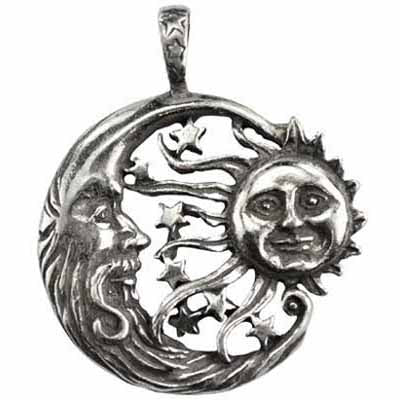 Windblown Celestial Amulet Pewter Pendant (has cord) :: Mental XS Online