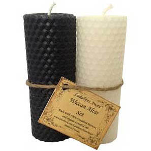 Lailokens Awen™ Wiccan Altar Set of 2 Black & White Pillar Candles 4¼