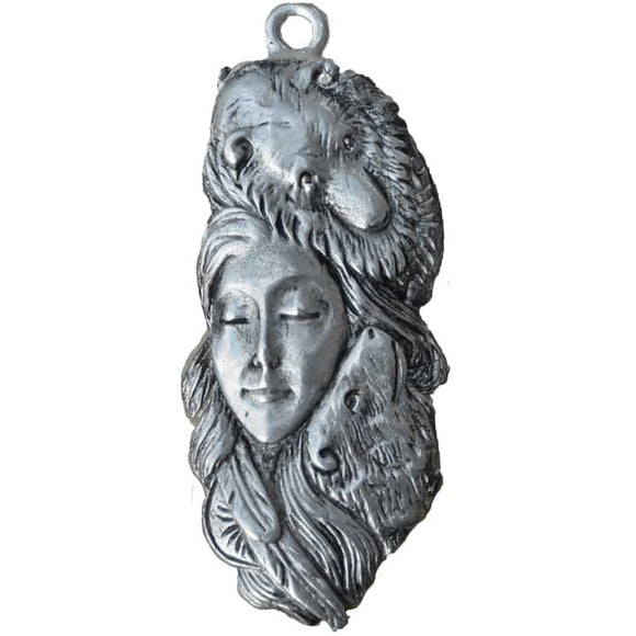 Goddess, Twin Bears & Crow Feathers Amulet Pewter Pendant (has cord) :: Mental XS Online