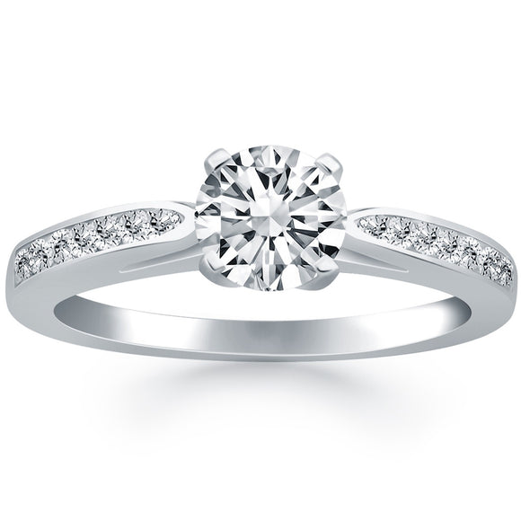 14K White Gold Pave 0.5 ct Diamond Cathedral Engagement Ring