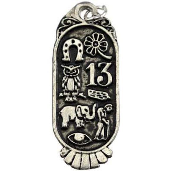 Lucky 8 Cartouche Talisman Pewter Pendant (has cord) :: Mental XS Online
